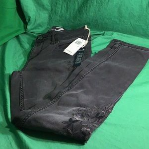 Seven 7 Embroidered Black Skinny Jeans Sz 4 NWT